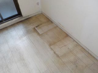 1部屋目の床のビフォア(CF撤去後)